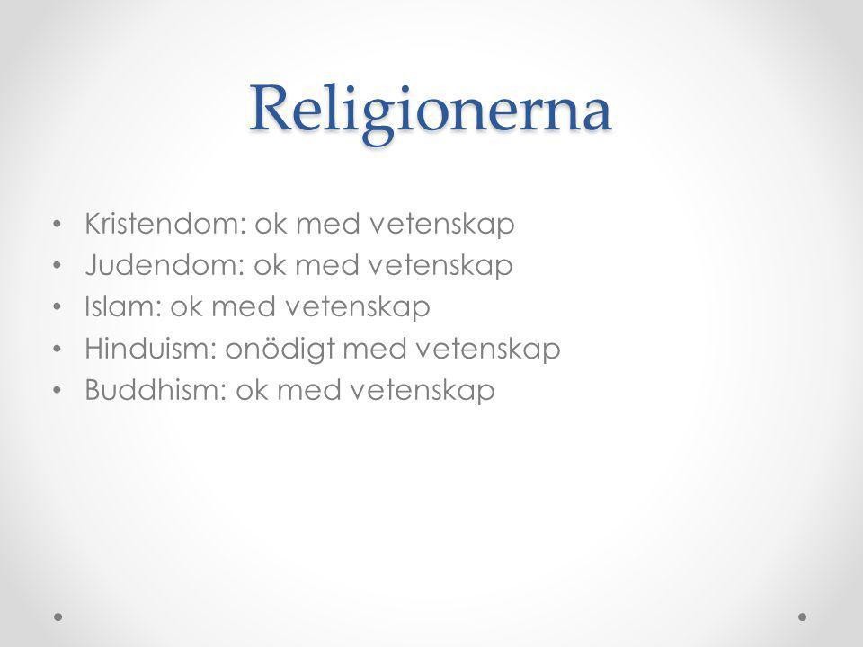 Religionerna Kristendom: ok med vetenskap Judendom: ok med vetenskap