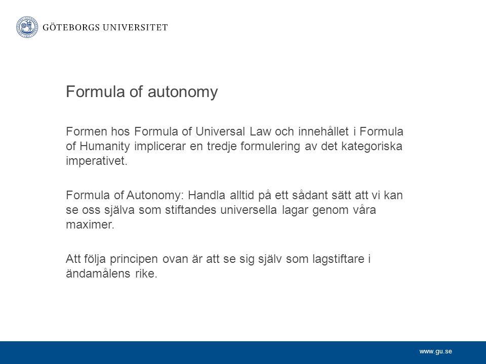 Formula of autonomy