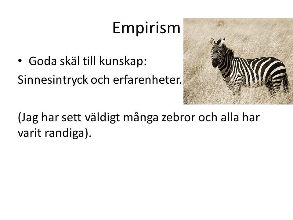 Empirism Goda skäl till kunskap: Sinnesintryck och erfarenheter.