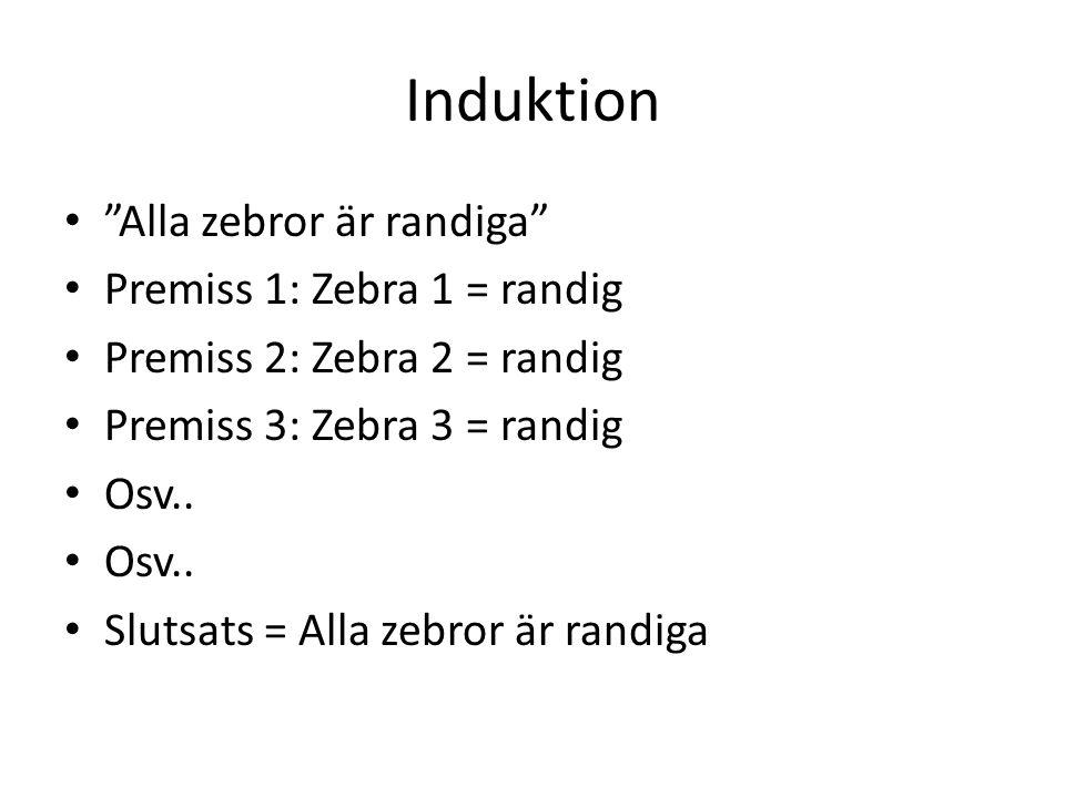 Induktion Alla zebror är randiga Premiss 1: Zebra 1 = randig