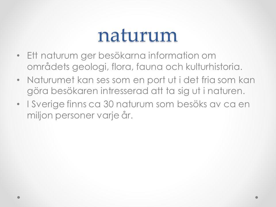 naturum Ett naturum ger besökarna information om områdets geologi, flora, fauna och kulturhistoria.