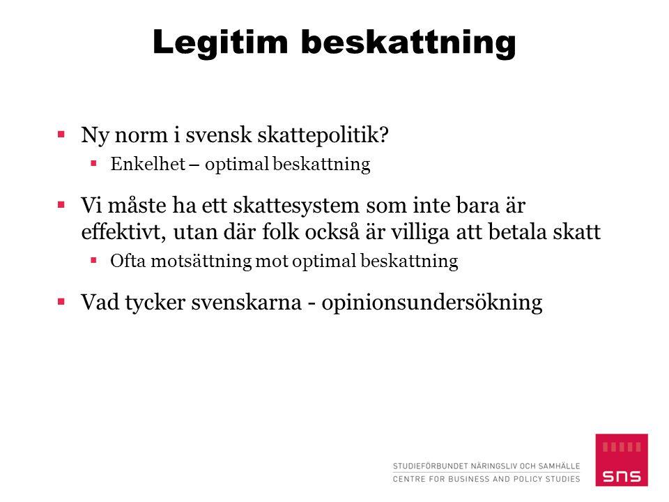 Legitim beskattning Ny norm i svensk skattepolitik