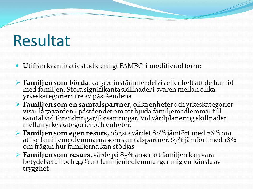 Resultat Utifrån kvantitativ studie enligt FAMBO i modifierad form: