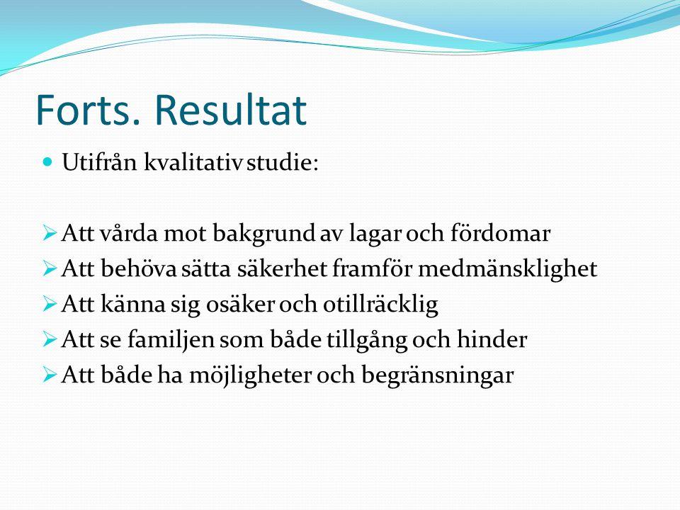 Forts. Resultat Utifrån kvalitativ studie: