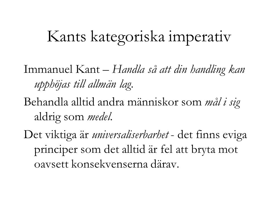 Kants kategoriska imperativ