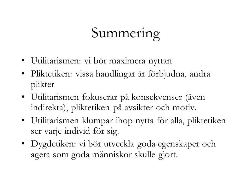 Summering Utilitarismen: vi bör maximera nyttan