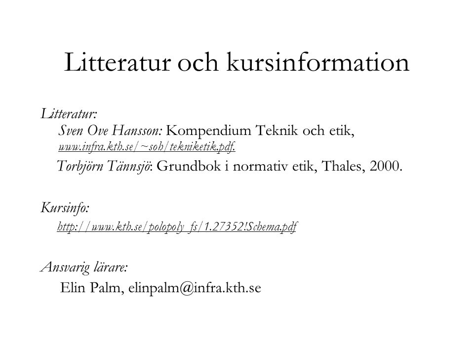 Litteratur och kursinformation