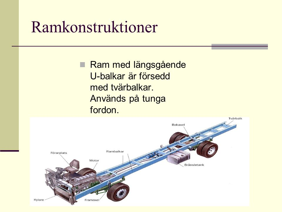 Ramkonstruktioner Ram med längsgående U-balkar är försedd med tvärbalkar. Används på tunga fordon.