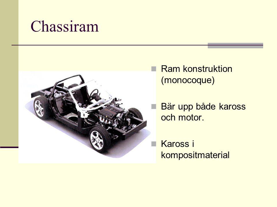 Chassiram Ram konstruktion (monocoque) Bär upp både kaross och motor.