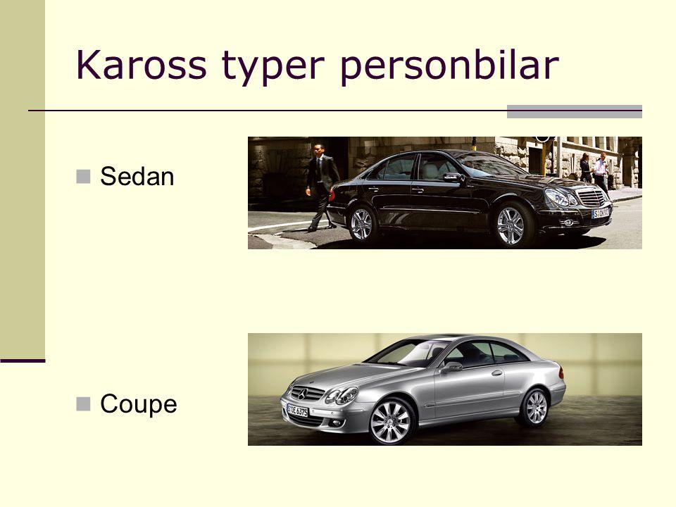 Kaross typer personbilar