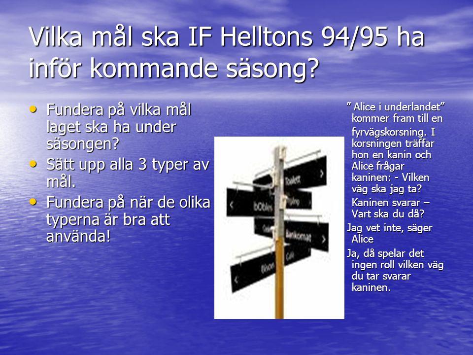 Vilka mål ska IF Helltons 94/95 ha inför kommande säsong