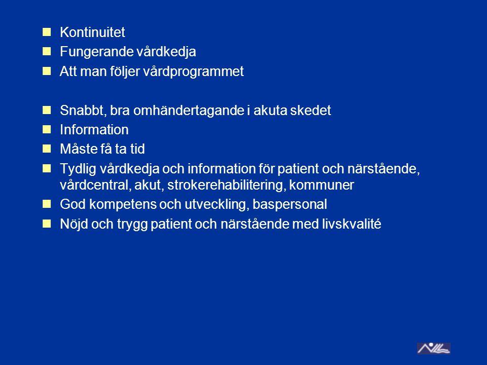 Kontinuitet Fungerande vårdkedja. Att man följer vårdprogrammet. Snabbt, bra omhändertagande i akuta skedet.