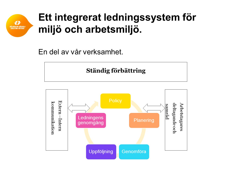 Ett integrerat ledningssystem för miljö och arbetsmiljö.
