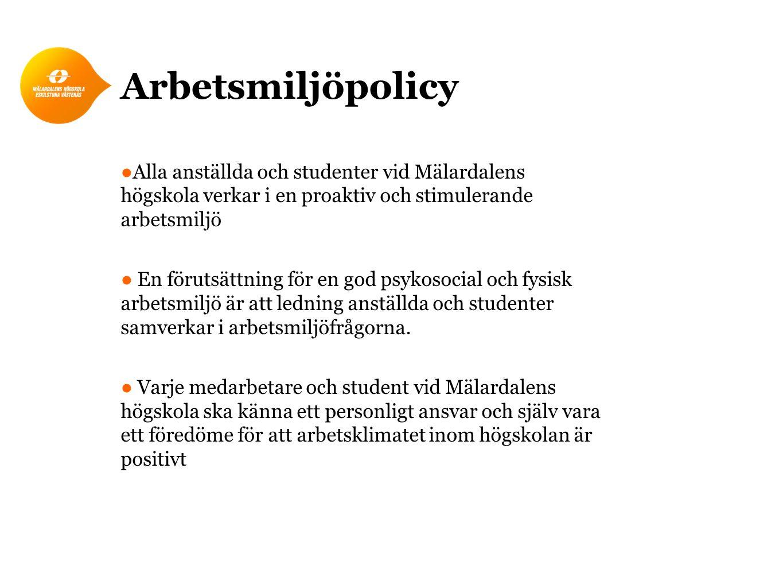 Arbetsmiljöpolicy Alla anställda och studenter vid Mälardalens högskola verkar i en proaktiv och stimulerande arbetsmiljö.