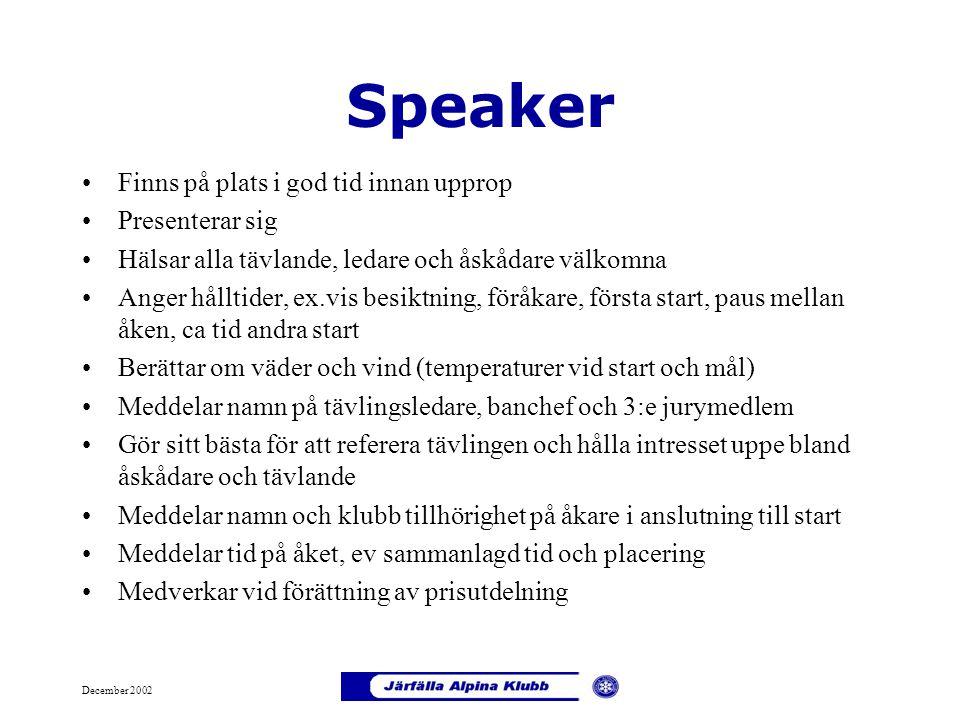 Speaker Finns på plats i god tid innan upprop Presenterar sig