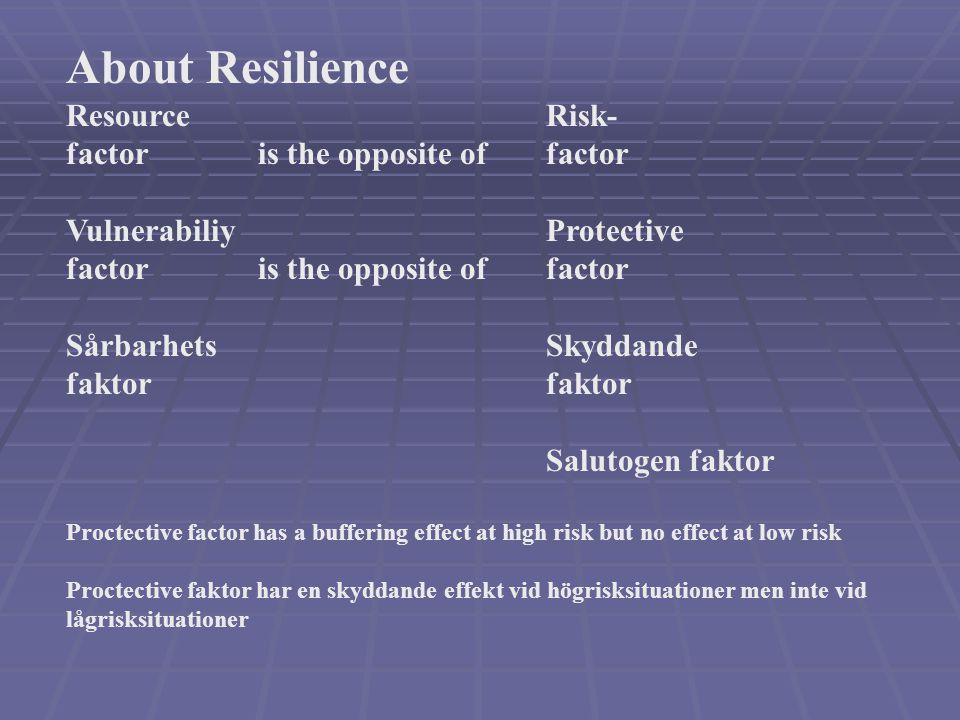 About Resilience Resource Risk- factor is the opposite of factor