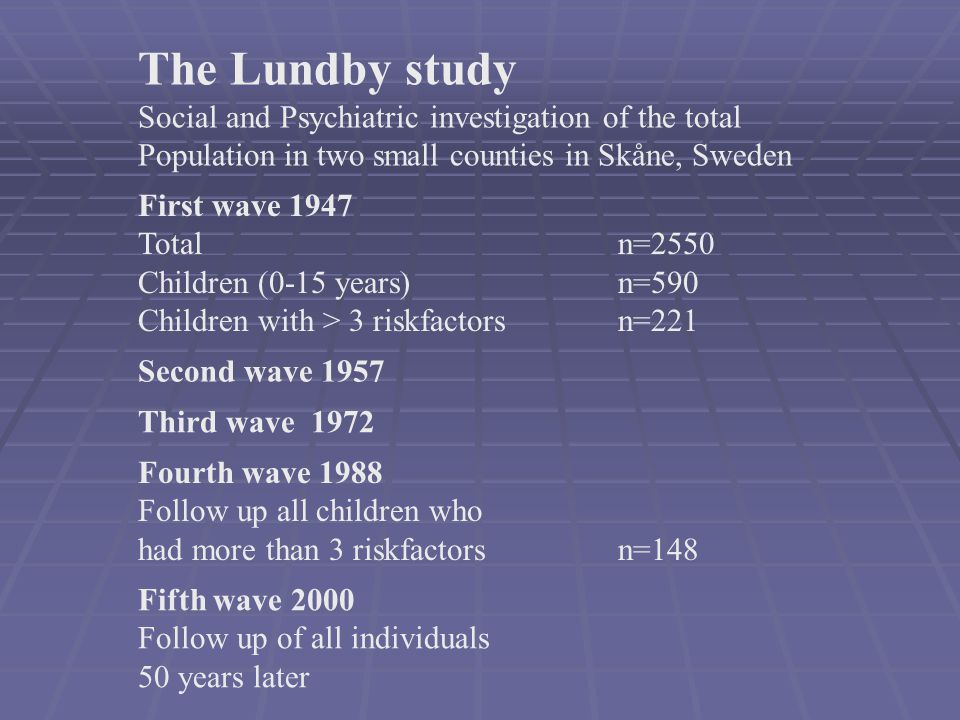 The Lundby study Social and Psychiatric investigation of the total
