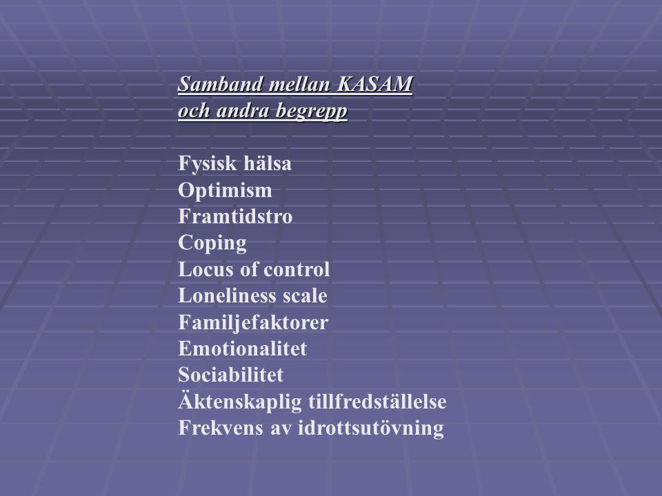 Samband mellan KASAM och andra begrepp. Fysisk hälsa. Optimism. Framtidstro. Coping. Locus of control.