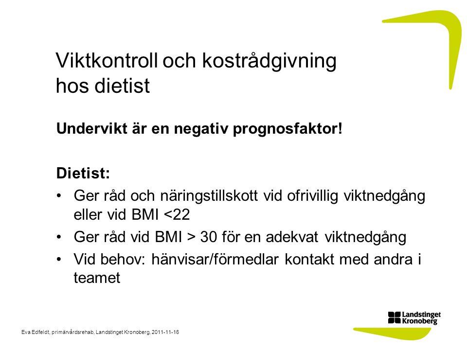 Viktkontroll och kostrådgivning hos dietist