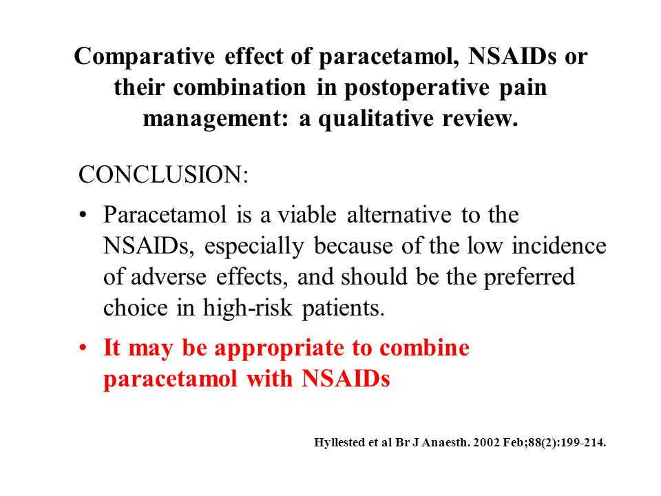 It may be appropriate to combine paracetamol with NSAIDs