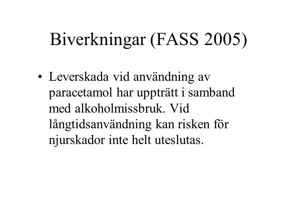 Biverkningar (FASS 2005)