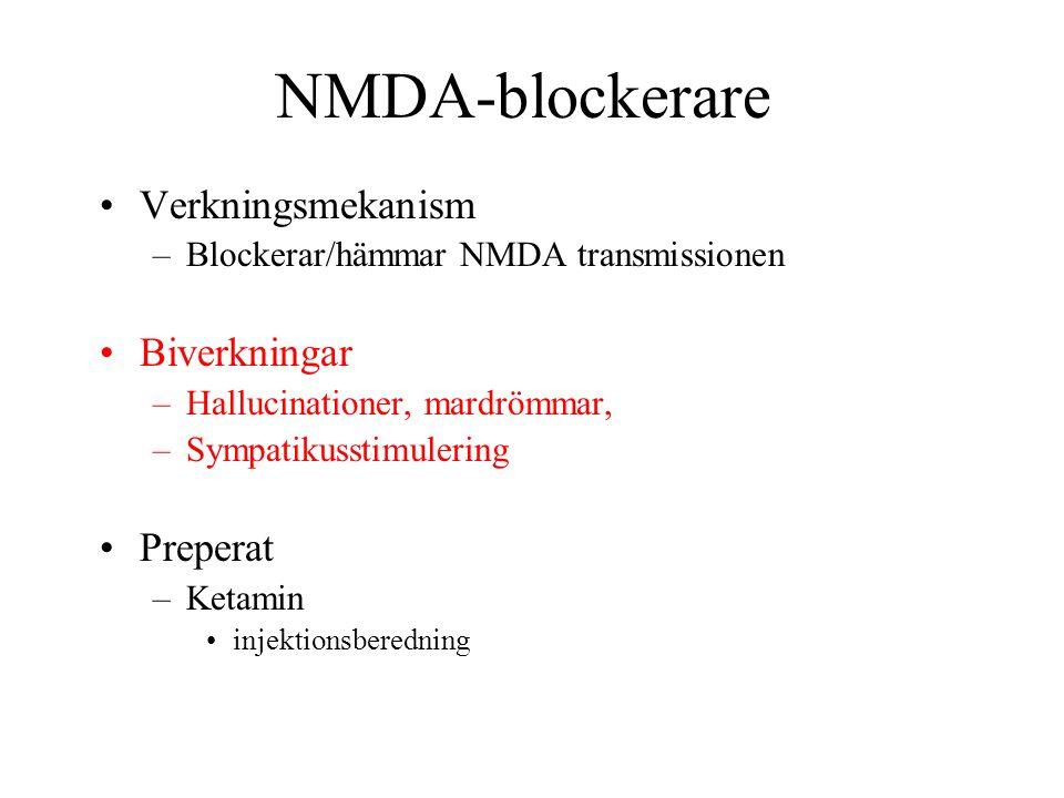 NMDA-blockerare Verkningsmekanism Biverkningar Preperat