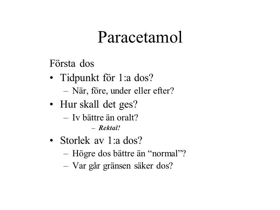 Paracetamol Första dos Tidpunkt för 1:a dos Hur skall det ges