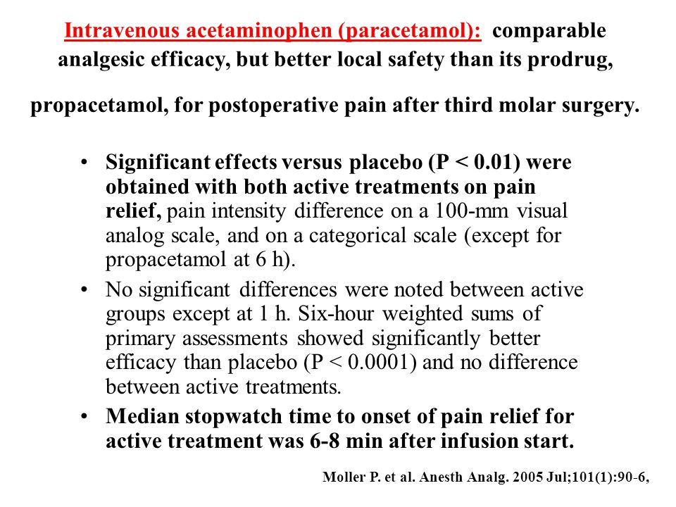 Intravenous acetaminophen (paracetamol): comparable analgesic efficacy, but better local safety than its prodrug, propacetamol, for postoperative pain after third molar surgery.