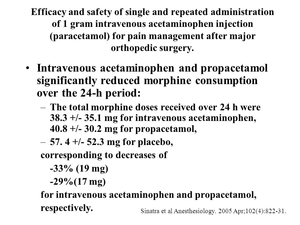 Efficacy and safety of single and repeated administration of 1 gram intravenous acetaminophen injection (paracetamol) for pain management after major orthopedic surgery.