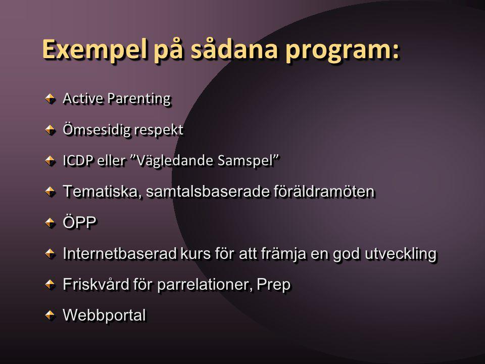 Exempel på sådana program: