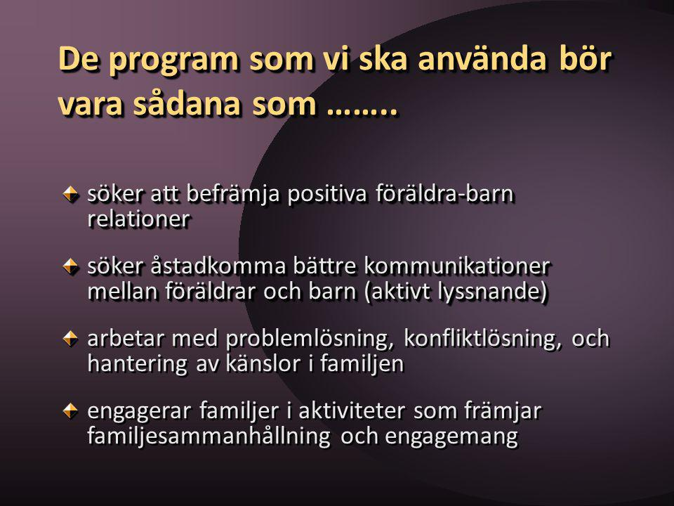 De program som vi ska använda bör vara sådana som ……..