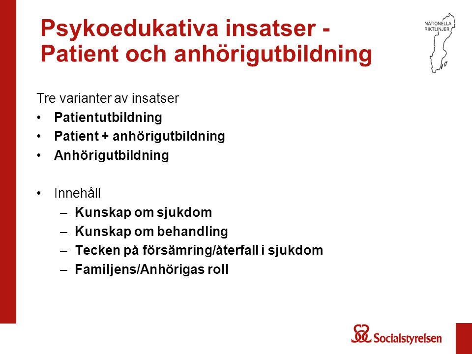 Psykoedukativa insatser - Patient och anhörigutbildning