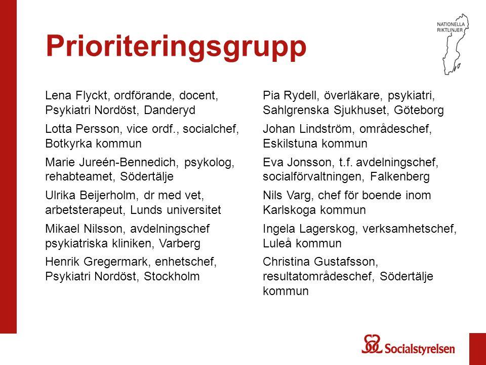73737373 Prioriteringsgrupp. Lena Flyckt, ordförande, docent, Psykiatri Nordöst, Danderyd. Lotta Persson, vice ordf., socialchef, Botkyrka kommun.