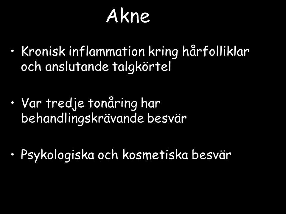 Akne Kronisk inflammation kring hårfolliklar och anslutande talgkörtel