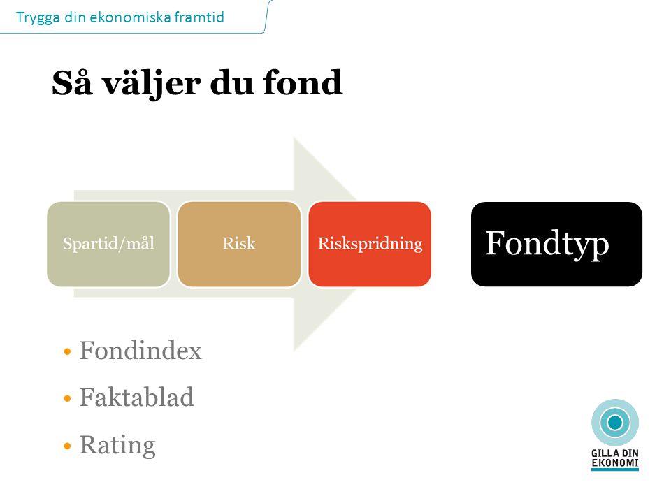 Så väljer du fond Fondtyp Fondindex Faktablad Rating SÅ VÄLJER DU FOND
