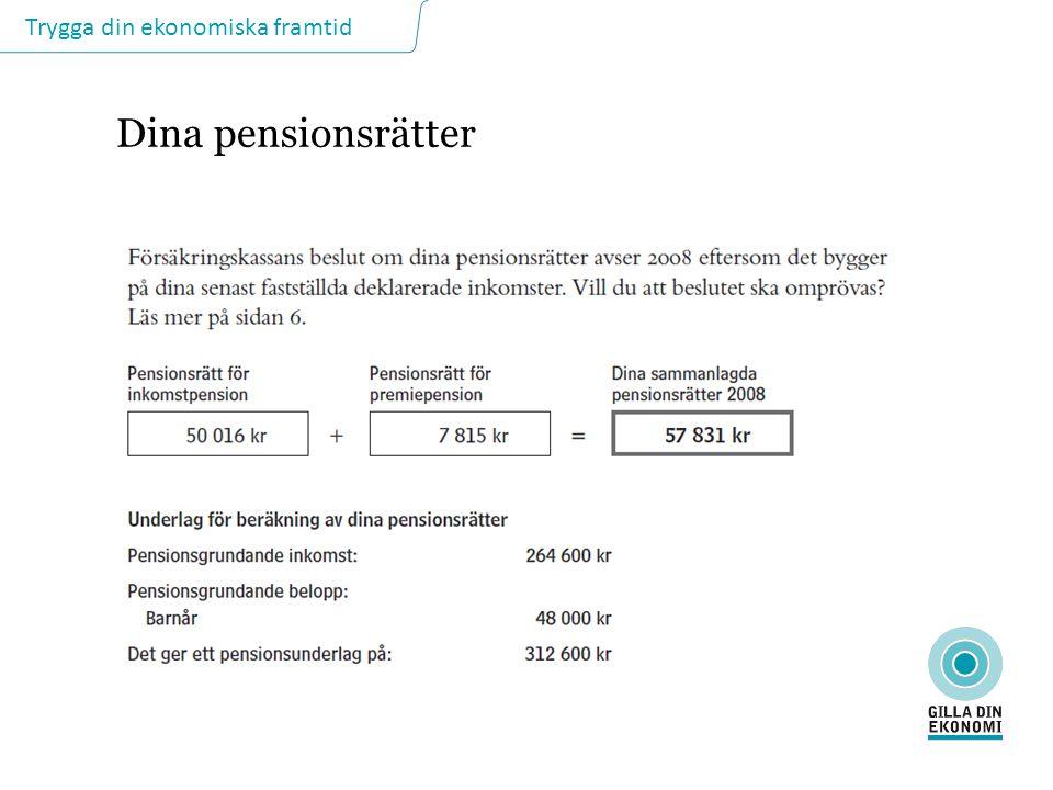 Dina pensionsrätter DINA PENSIONSRÄTTER