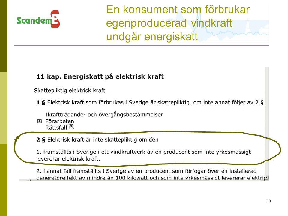En konsument som förbrukar egenproducerad vindkraft undgår energiskatt