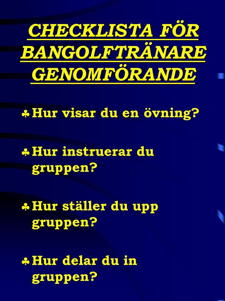 CHECKLISTA FÖR BANGOLFTRÄNARE GENOMFÖRANDE