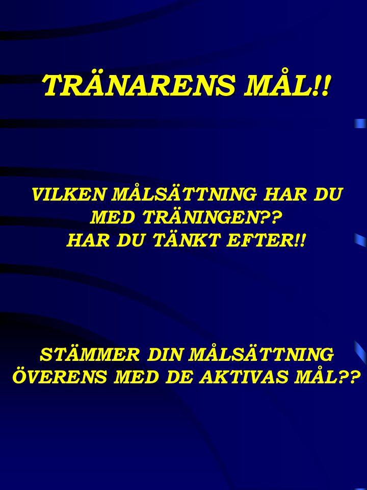 TRÄNARENS MÅL!! VILKEN MÅLSÄTTNING HAR DU MED TRÄNINGEN