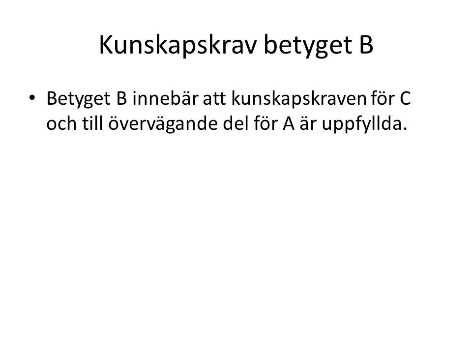 Kunskapskrav betyget B