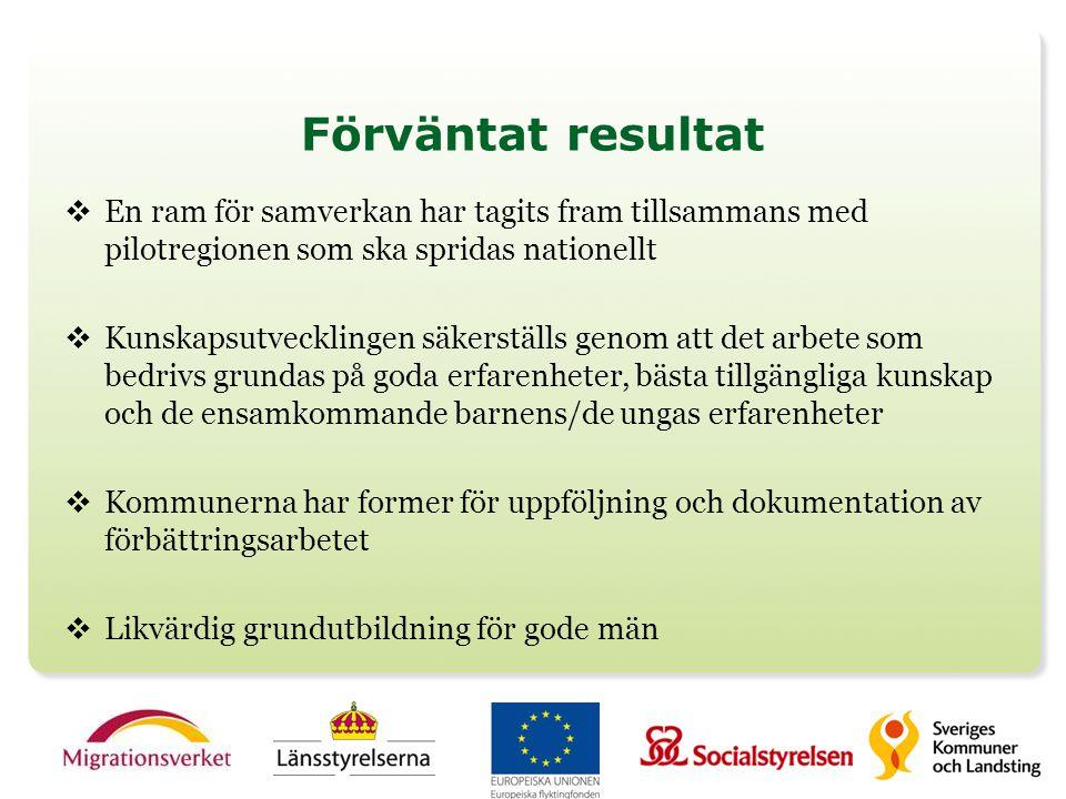 Förväntat resultat En ram för samverkan har tagits fram tillsammans med pilotregionen som ska spridas nationellt.