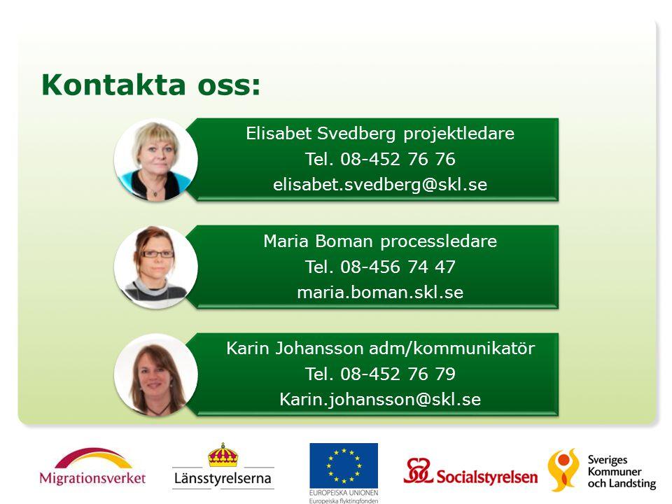 Kontakta oss: Elisabet Svedberg projektledare Tel. 08-452 76 76
