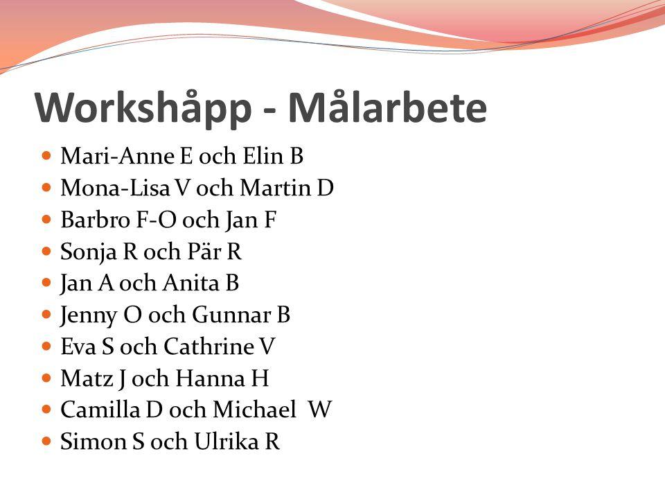 Workshåpp - Målarbete Mari-Anne E och Elin B Mona-Lisa V och Martin D