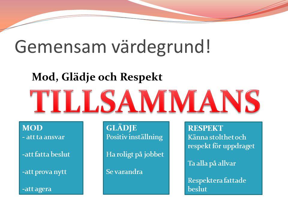 TILLSAMMANS Gemensam värdegrund! Mod, Glädje och Respekt MOD GLÄDJE