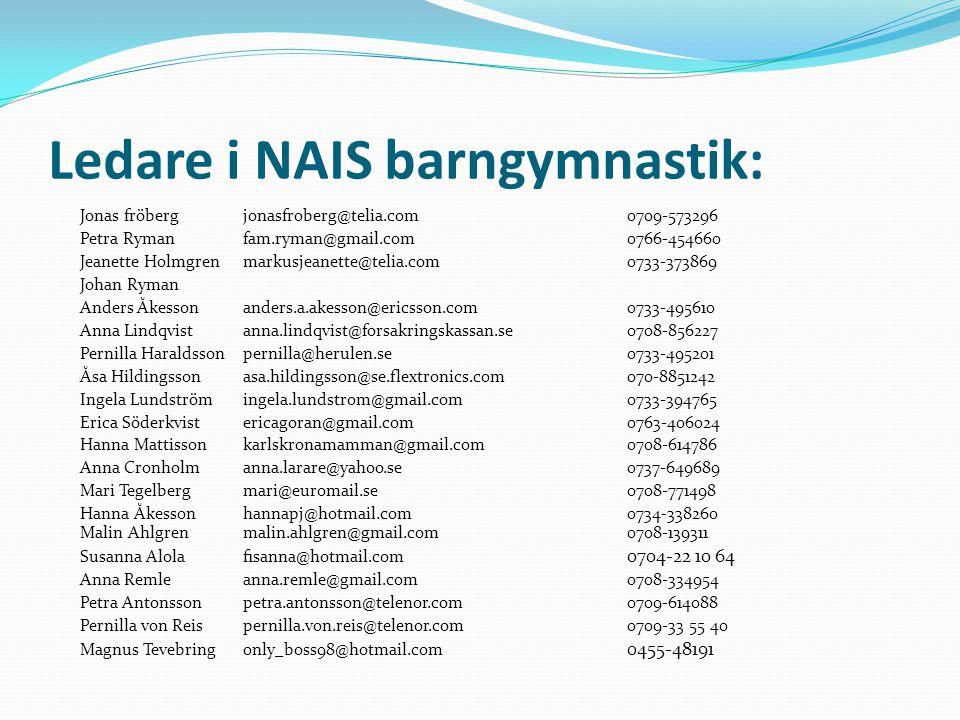 Ledare i NAIS barngymnastik: