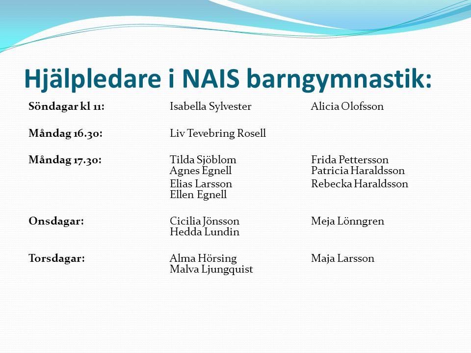 Hjälpledare i NAIS barngymnastik: