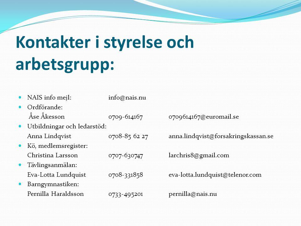 Kontakter i styrelse och arbetsgrupp: