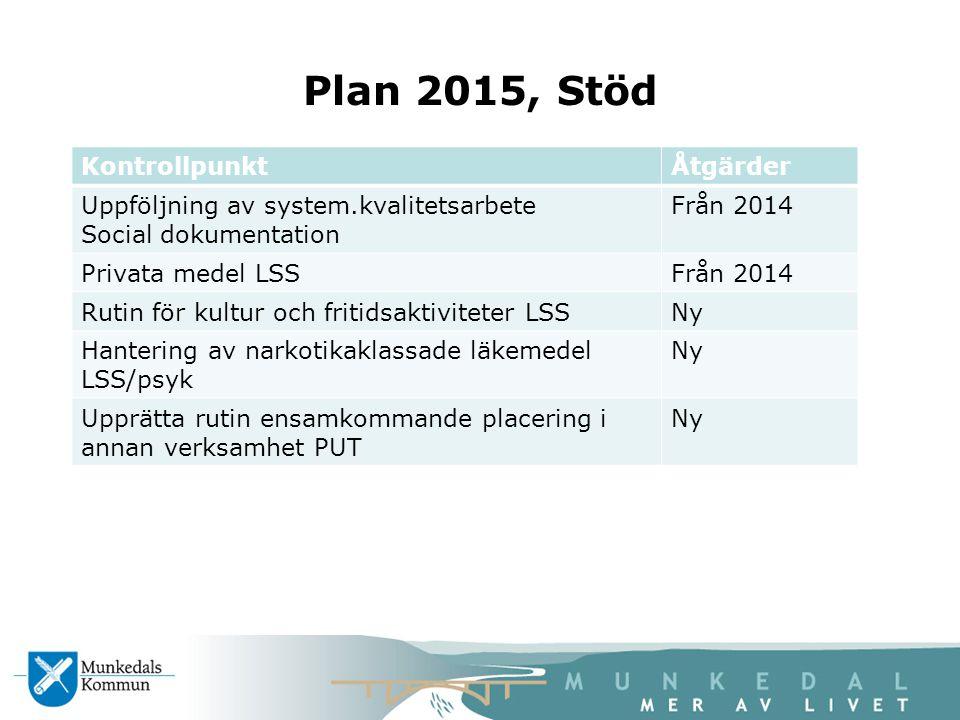 Plan 2015, Stöd Kontrollpunkt Åtgärder