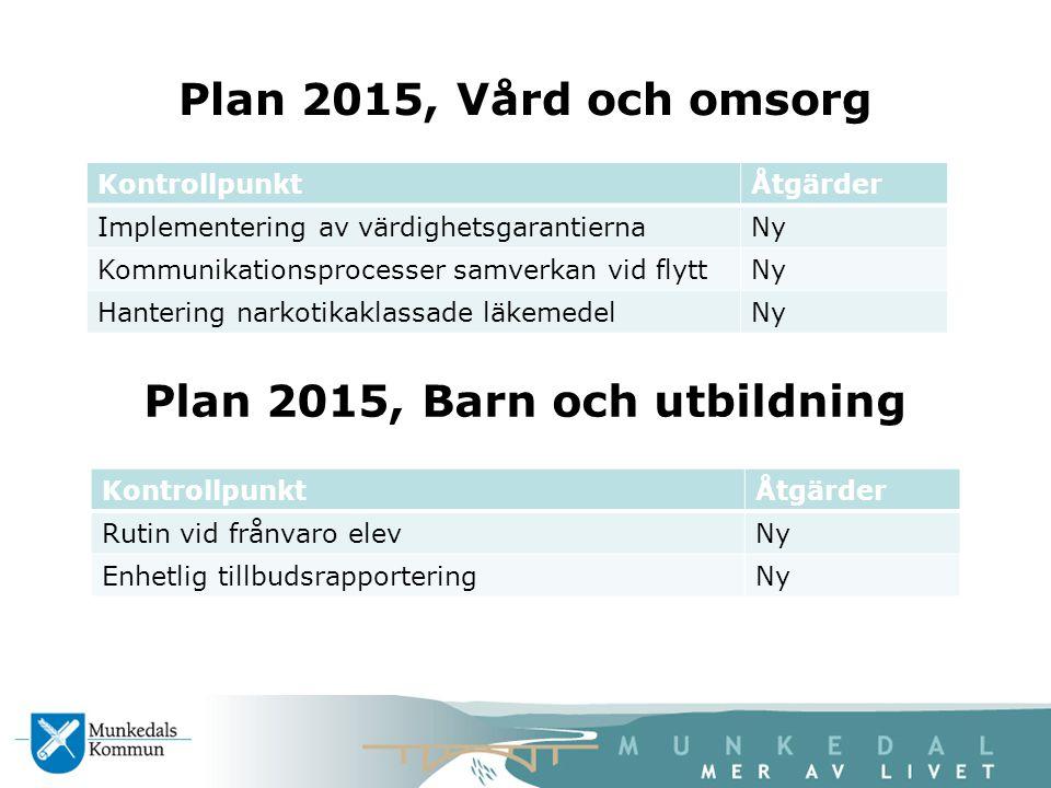 Plan 2015, Barn och utbildning