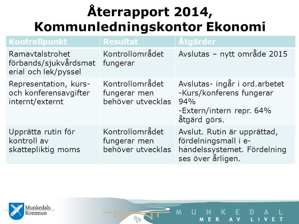 Återrapport 2014, Kommunledningskontor Ekonomi